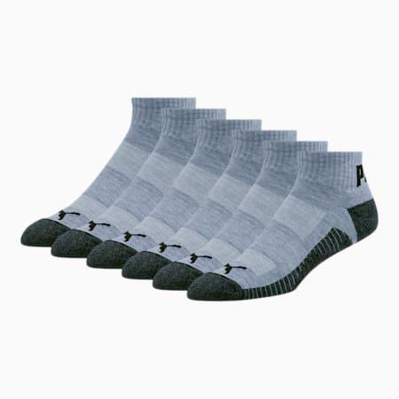Men's Quarter Crew Socks [6 Pack], LIGHT PASTEL GREY, small